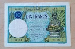 10 francs Madagascar ND 1937 P-36a.2