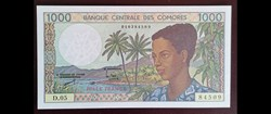 1000 francs Comores ND (1984-2005) P-11b...