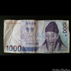 1000 Won - Corée du sud -