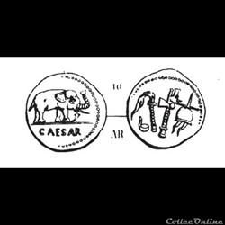 monnaie antique romaine gens julia jules cesar 49 denier a elephant