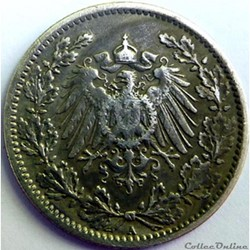 Empire allemand 1/2 mark 1919