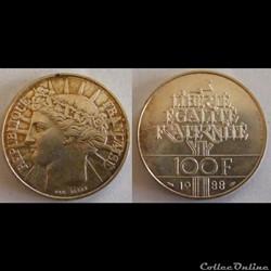 100 francs Fraternité 1988