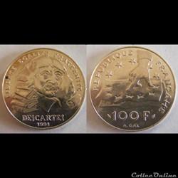 100 francs René Descartes 1991