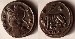 RIC.561 Rome (AE3, Trèves, palme, TRS)