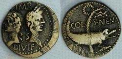 Auguste et Agrippa, As/Dupondius de Nîme...