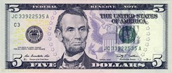 Billet de 5 dollars USA