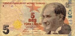 Billet de 5 livres turc
