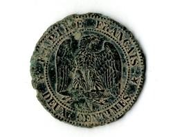2 centimes Napoléon III, tête laurée