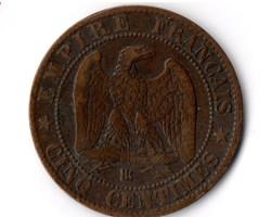 5 centimes Napoléon III, tête laurée