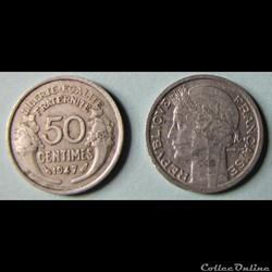 50 centimes MORLON, légère 1947