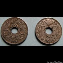5 centimes LINDAUER, petit module 1934