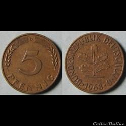 5 pfennig 1968 D