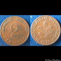 2 pfennig (acier plaqué) 1970 D
