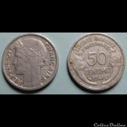 50 centimes MORLON (légère) 1941