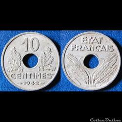 10 centimes ETAT FRANCAIS, grand module ...