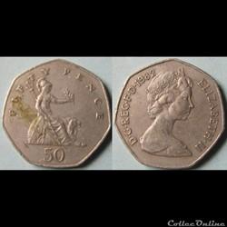 50 pence Elizabeth II (2ème effigie) 1982