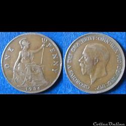 1 penny George V (2ème effigie, petite tête) 1936