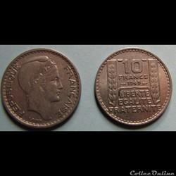 10 francs TURIN, petite tête 1949