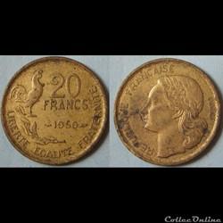 20 francs George Guiraud 1950 (3 plumes)