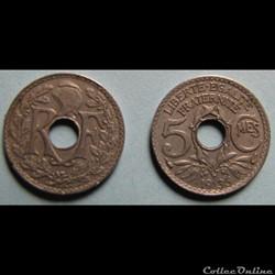 5 centimes LINDAUER, petit module 1935