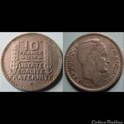 10 francs Turin (petite tête) 1948 B (gras)