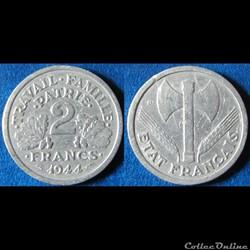 2 francs Francisque 1944 B