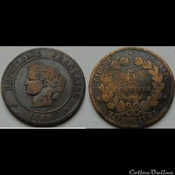 5 centimes Cérès 1883 A
