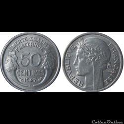 50 centimes Morlon (légère) 1947 B