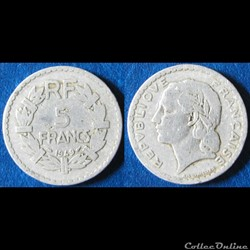 5 francs Lavrillier (alu) 1949 B