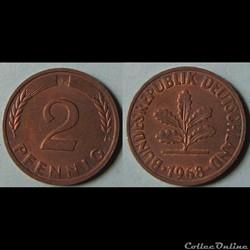 2 pfennig (acier plaqué) 1968 F