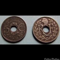 5 centimes LINDAUER, petit module 1930