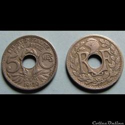 5 centimes LINDAUER, grand module 1920