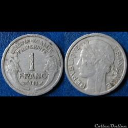 1 franc Morlon (légère) 1941