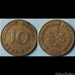 10 pfennig 1966 D
