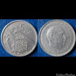 5 pesetas Franco 1957 (73)