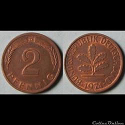 2 pfennig (acier plaqué) 1974 D