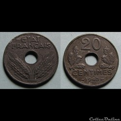 20 centimes ETAT FRANCAIS, lourde 1943