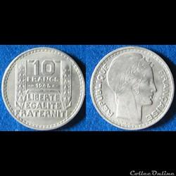 10 francs Turin (grosse tête, rameaux lo...