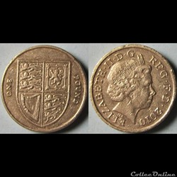 1 pound Elizabeth II (4ème effigie, blason royal) 2010