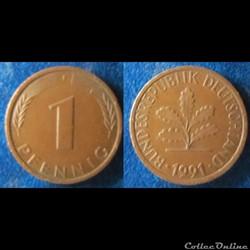 1 pfennig 1991 F