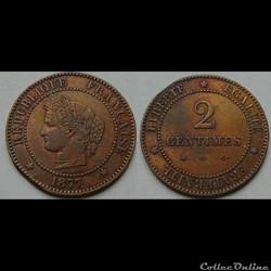 2 centimes Cérès 1877 A