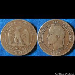 10 centimes Napoléon III (tête laurée) 1861 BB