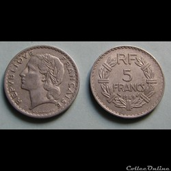5 francs LAVRILLIER, aluminuim 1949