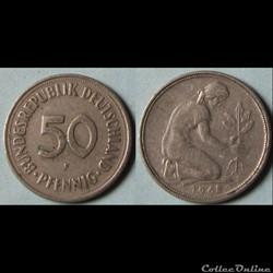 50 pfennig 1968 F
