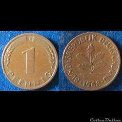 1 pfennig 1968 F