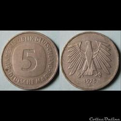 5 Deutsche mark 1975 G