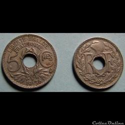 5 centimes LINDAUER, petit module 1936
