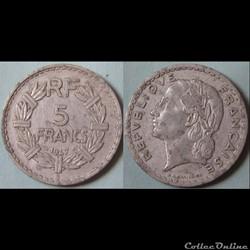 5 francs Lavrillier (aliminium, 9 fermé)...