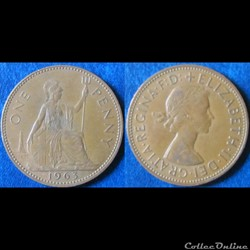 1 penny Elizabeth II (1ère effigie) 1963