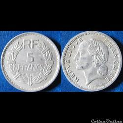 5 francs Lavrillier (aluminium) 1948